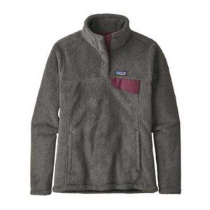 Patagonia Grey Pink Retool Snap-T Fluffy Pullover